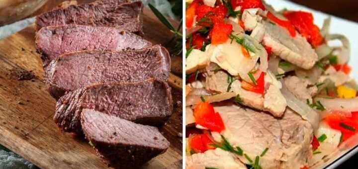 салат с мясом и перцем