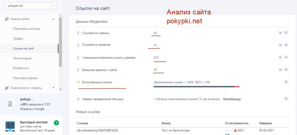 analiz sajta pokypki.net
